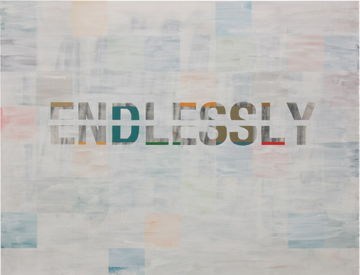 "Mark Luyten, Untitled (""Endlessly""), 1989/ 2011, oil on canvas, 75 1/2 x 96 7/8""."