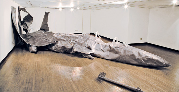 "Seo Hae-geun, F-15K, 2011, pencil, paper, wire, and glue, 32' 10"" x 19' 8"" x 7' 6""."
