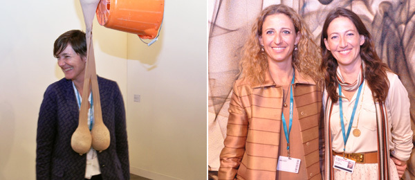 Left: Dealer Sadie Coles. Right: Dealers Francesca Kauffmann and Chiara Repetto.