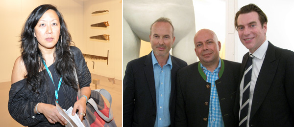 Left: New Museum curator Eungie Joo. Right: Artist Erwin Wurm, curator Peter Doroshenko, and dealer David Maupin. (Photo: Kate Sutton)