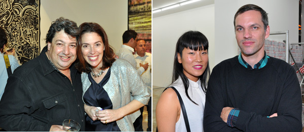 Left: LA MoCA curator Paul Schimmel with Christie's Amy Cappellazzo. Right: Artists Xavier Cha and Frank Benson.