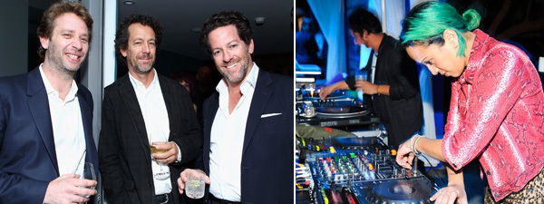 Left: Dealer Joel Mesler, Michael Blum, and dealer Tim Blum. (Photo: Getty Images) Right: Venus X at the NADA party. (Photo: Billy Farrell Agency)