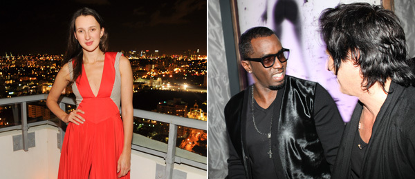 Left: Collector Maria Baibakova. Right: Diddy and artist Raphael Mazzucco. (Photos: Billy Farrell Agency)