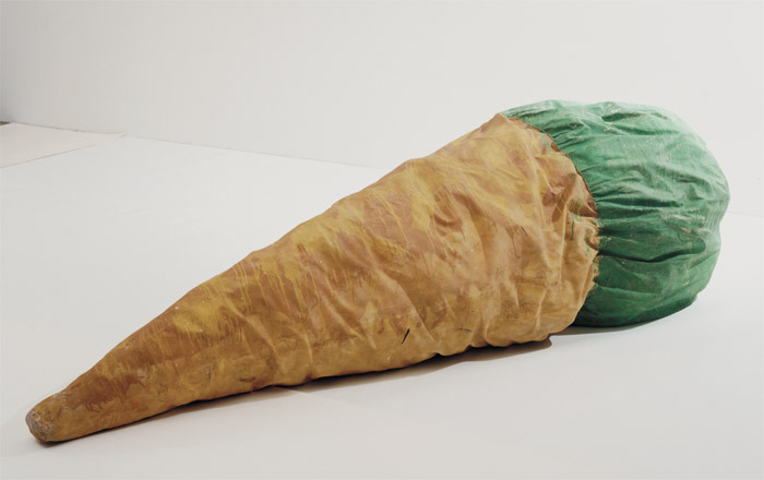 "Claes Oldenburg, Floor Cone, 1962, polymer paint on canvas filled with foam rubber  and cardboard boxes,  4' 5 3/4"" x 11' 4"" x 4' 8""."