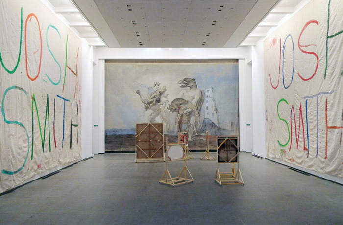 View of Printemps de Septembre, Musée les Abbattoirs, Toulouse. Walls, from left: Josh Smith, Untitled (Toulouse I), 2011; Pablo Picasso, La Dépouille du Minotaure en costume d'arlequin (The Remains of the Minotaur in Harlequin Costume), 1936; Josh Smith, Untitled (Toulouse II), 2011. Floor: Ei Arakawa, See Weeds, 2011.