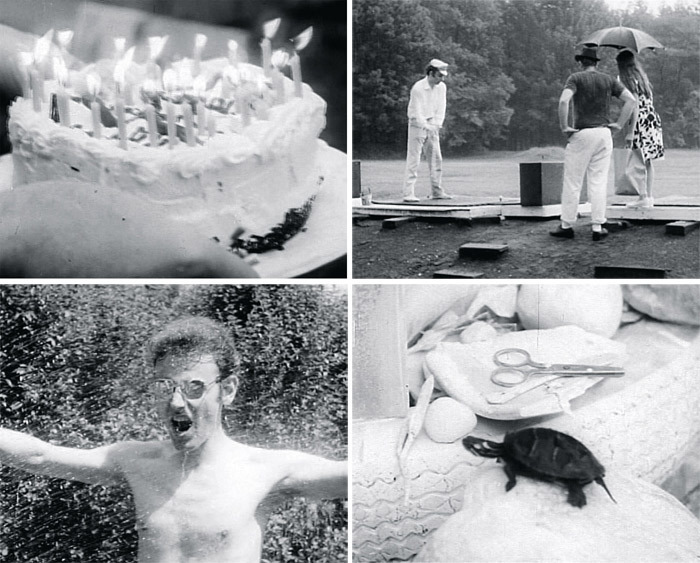 Robert Breer, Pat's Birthday, 1962, stills from a black-and-white film in 16 mm, 13 minutes.