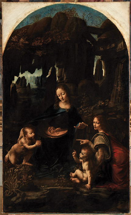 "Leonardo da Vinci, The Virgin of the Rocks, ca. 1483–85, oil on wood transferred to canvas, 78 3/8 x 48""."