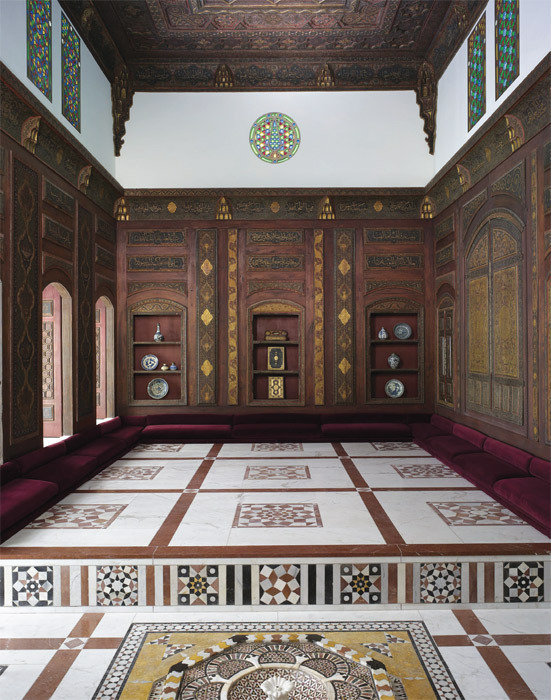Qa'a (reception room), Damascus, Syria, 1707. Installation view, Metropolitan Museum of Art, New York, 2011.