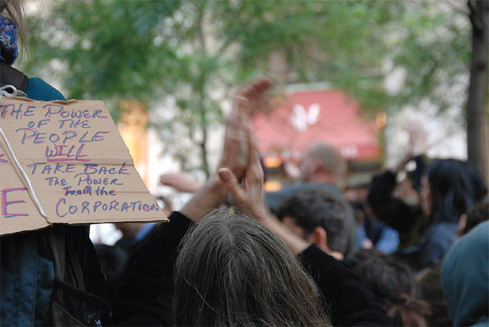 Occupy Wall Street protesters in Zuccotti Park, New York, October 15, 2011. Photo: Hans Haacke.