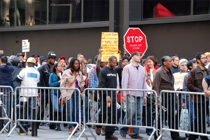 Occupy Wall Street protesters march down Broadway, New York, October 15, 2011. Photo: Hans Haacke.