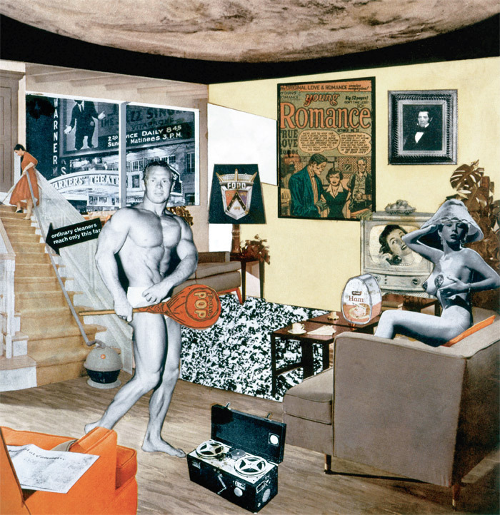 "Richard Hamilton, Just what is it that makes today's homes so different, so appealing?, 1956, collage on paper, 10 1/4 x 9 3/4""."