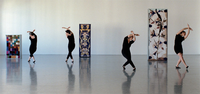Sharon Lockhart, Five Dances and Nine Wall Carpets by Noa Eshkol, 2011, color film in 35 mm transferred to HD video, five-channel installation, continuous loop. Noga Goral, Mor Bashan, Ruti Sela, Or Gal-Or.