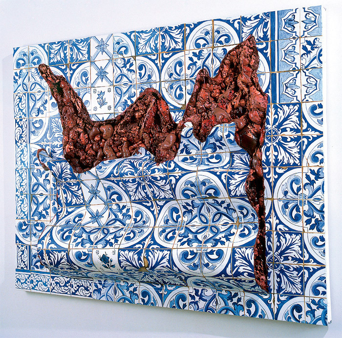 "Adriana Varejão, Azulejaria ""De tapete"" em carne viva (""Carpet-Style"" Tilework in Live Flesh), 1999, oil on canvas and polyurethane on aluminum and wooden support, 59 x 74 3/4 x 9 3/4""."