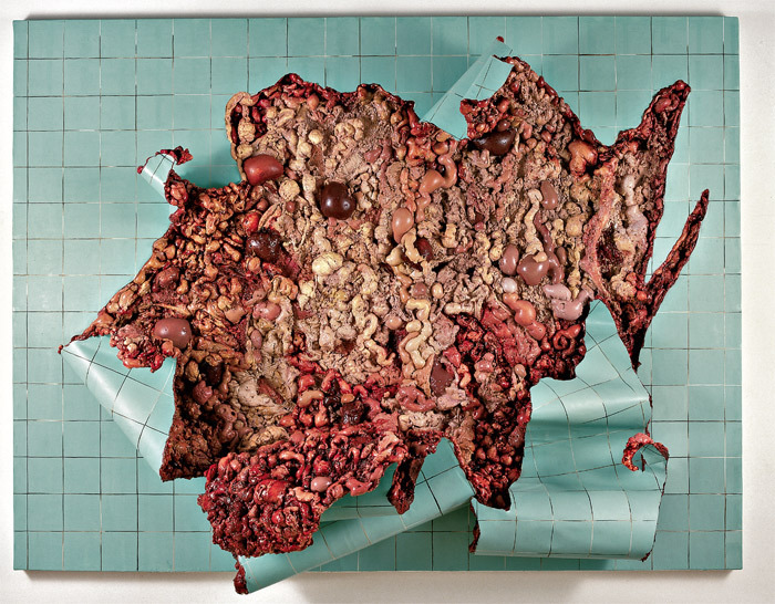 "Adriana Varejão, Azulejaria verde em carne viva (Green Tilework in Live Flesh), 2000, oil on canvas and polyurethane on aluminum and wooden support, 86 5/8 x 114 1/8 x 27 1/2""."