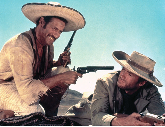 *Sergio Leone, _The Good, the Bad and the Ugly_, 1966*, still from a color film in 35 mm, 161 minutes. Tuco  (Eli Wallach) and Joe (Clint Eastwood).