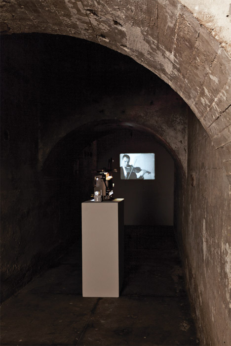 *Manon de Boer, _Attica_, 2008*, black-and-white film in 16 mm. Installation view, SculptureCenter, New York, 2011. Photo: Jason Mandella.