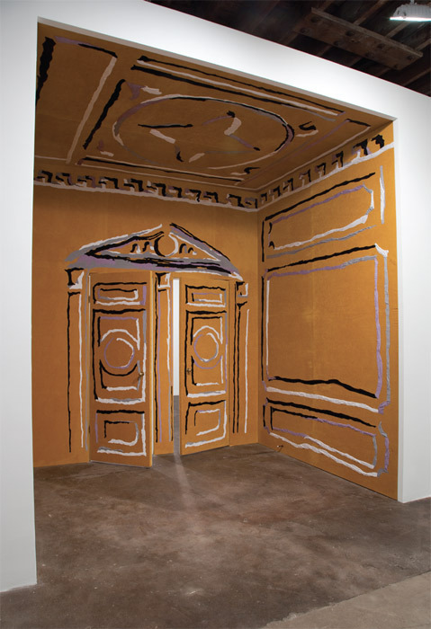 "Nick Mauss, Concern, crush, desire (detail), 2011, cotton appliqué on velvet, brass door-knobs, door stoppers, 10' 11"" x 9' 7""."