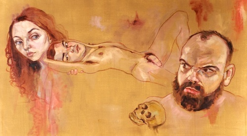 "Heyd Fontenot, Angry Johnny, 2007, oil on canvas, 53 x 29""."