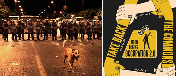 Left: Loukanikos in the Time magazine online profile. (Photo: Giorgos Moutafis / Anzenberger) Right: Detail of a flyer for D17 Reoccupy.