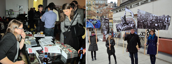 "Left: At the launch for Occupy! Scenes from Occupied America. (Photo: John Arthur Peetz) Right: Documentation of Alexandra Lerman's Parade of Protests at Storefront for Art and Architecture's ""Strategies for Public Occupation."""