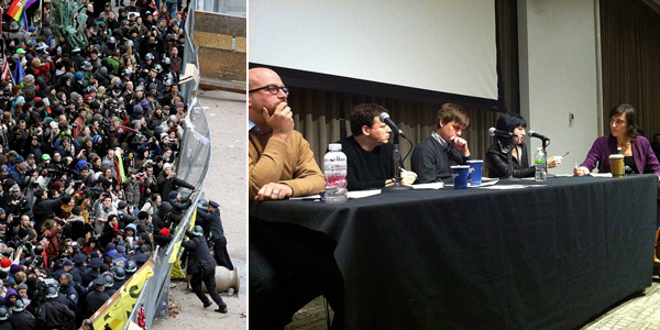 Left: A view of D17 at Duarte Square. (Photo: Matt Suhgouga) Right: An Occupy Onwards panel. (Photo: Daniel Latorre)