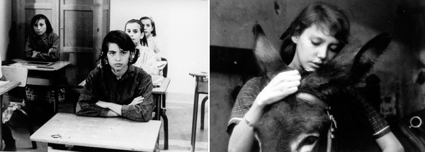 Left: Robert Bresson, Mouchette, 1967, still from a black-and-white film in 35 mm, 78 minutes. Right: Robert Bresson, Au hazard Balthazar, 1966, still from a black-and-white film in 35 mm, 95 minutes.