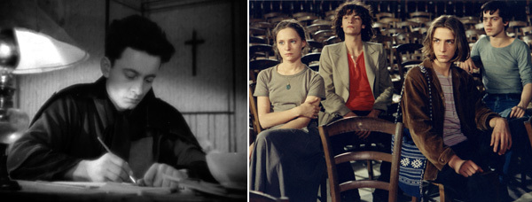 Left: Robert Bresson, Diary of a Country Priest, 1951, still from a black-and-white film in 35 mm, 115 minutes. Right: Robert Bresson, The Devil Probably, 1977, still from a color film in 35 mm, 95 minutes.