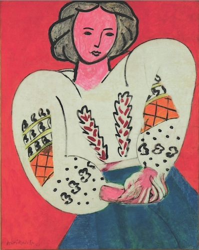 "Henri Matisse, The Romanian Blouse, 1939-40, oil on canvas, 36 1/4 x 28 3/4""."