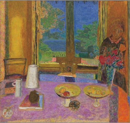 "Pierre Bonnard, Grande Salle à manger sur le jardin (Large Dining Room on the Garden), 1934-35, oil on canvas, 49 7/8 x 53 1/4""."