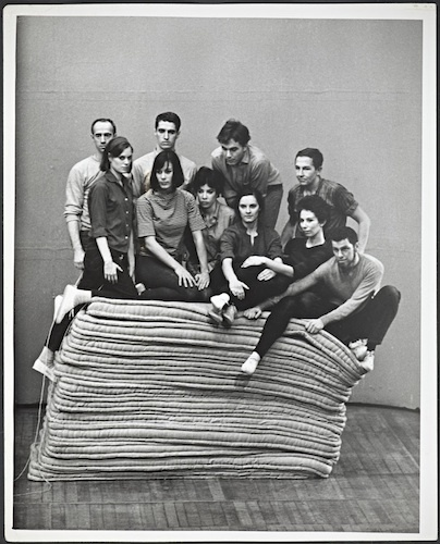 "Yvonne Rainer, Parts of Some Sextets, March 1965. Robert Morris, Lucinda Childs, Steve Paxton, Yvonne Rainer, Deborah Hay, Tony Holder, Sally Gross, Robert Rauschenberg, Judith Dunn, and Joseph Schlichter. The Wadsworth Atheneum, Hartford, CT, 1965, black-and-white-photograph, 10 x 8""."