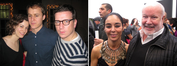 Left: Writer Nikki Columbus with artist Nick Mauss and Artists Space director Stefan Kalmár. Right: Artist Shirin Neshat and New Museum curator-at-large Richard Flood.