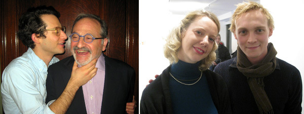Left: Artist Jordan Wolfson with Milt Wolfson. Right: Independent codirector Laura Mitterrand and dealer Peter Currie.