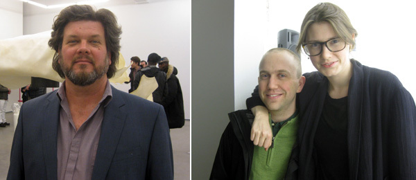 Left: Artist Ross Knight. Right: Artist Greg Parma Smith with the Swiss Institute's Piper Marshall.