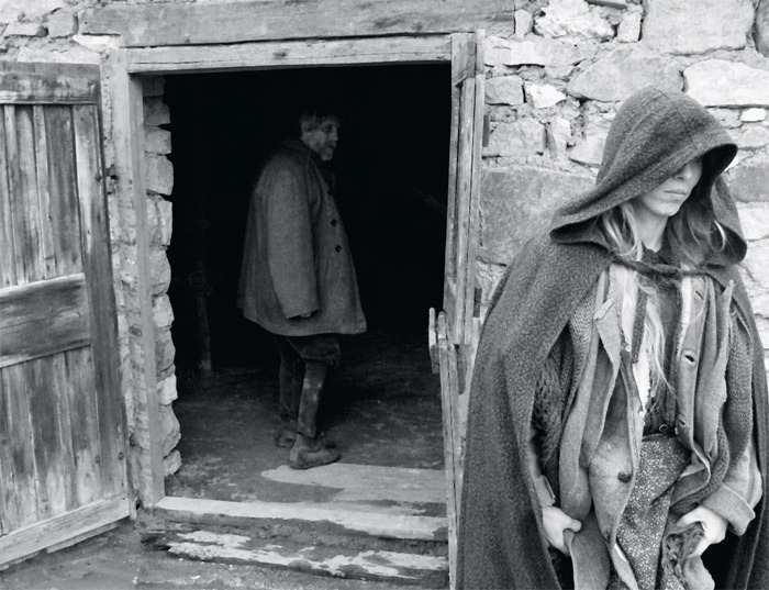 Béla Tarr, The Turin Horse, 2011, still from a black-and-white film in 35 mm, 146 minutes. Ohlsdorfer (János Derzsi) and his daughter (Erika Bók).