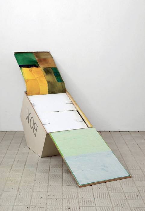 Christina Mackie, Sculpture of an idea of a painting of you, 2009, plywood, paper, plastic, oil paint, fabric, board, watercolor, linen, magnet, dimensions variable.