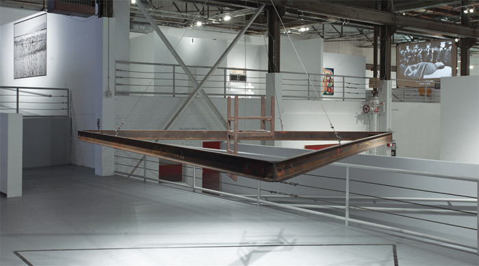 Bruce Nauman, South America Triangle, 1981, steel beams, steel cable, cast iron chair. Installation view, 2011. Photo: Brian Forrest.