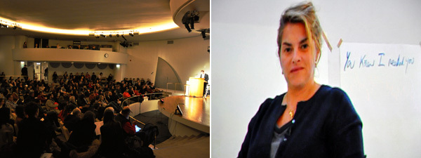 Left: The crowd at The Last Word in the Guggenheim's Peter B. Lewis theater. Right: A video of Tracey Emin. (All photos: Andy Guzzonatto)