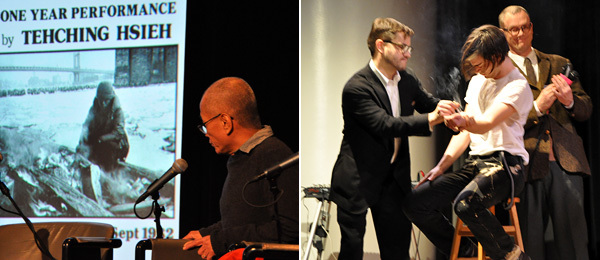 Left: Artist Tehching Hsieh. Right: Matmos.