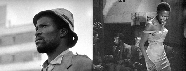 Lionel Rogosin, Come Back, Africa, 1959, stills from a black-and-white film in 35 mm, 85 minutes. Left: Zachariah (Zacharia Mgabi). Right: Miriam Makeba.