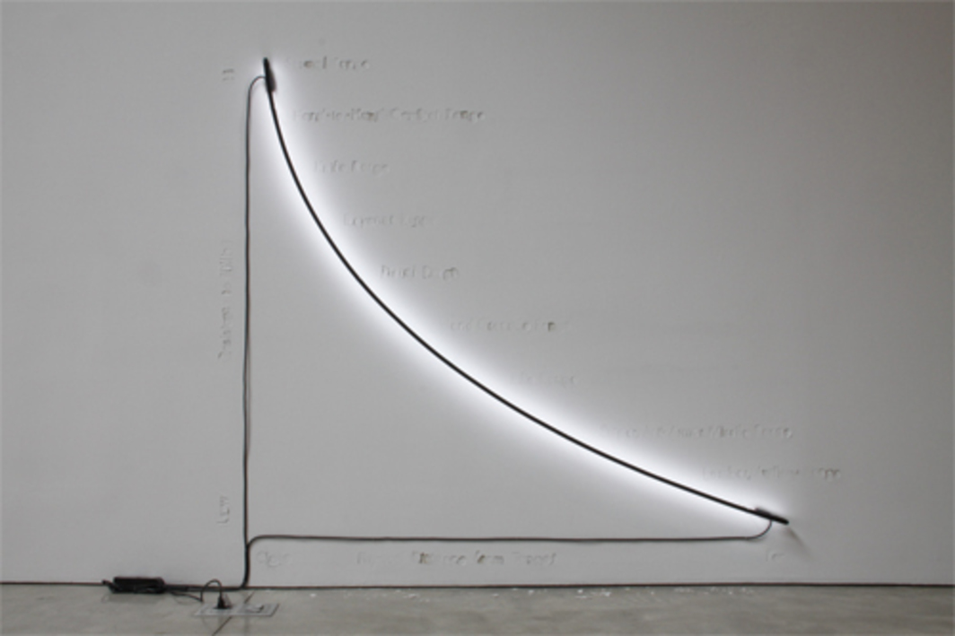 Jill Magid, From a Distance You Don't Look Anything like a Friend, 2011, letterpress, neon, dimensions variable. Installation view.