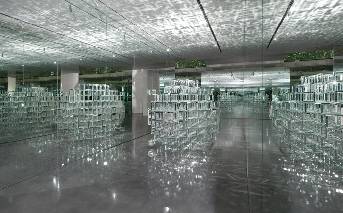 "David Altmejd, The University 1, 2004, mirrors, wood, 66 x 71 x 106""."
