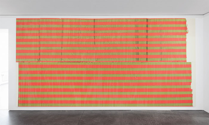 "Wade Guyton, Untitled, 2011, Epson UltraChrome K3 ink jet on linen, 9' 1/4"" x 18' 4 1/2"". Galerie Francesca Pia."