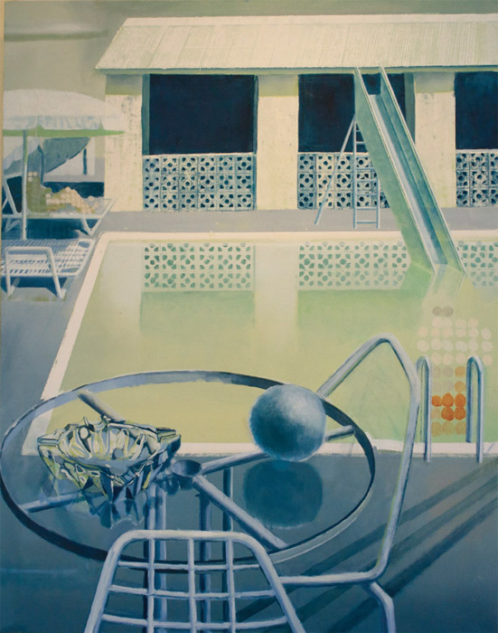 "Angus Collis, Hotel Poolside/Ice Seal (detail), 2011, diptych, oil on canvas, overall 86 5/8 x 55 1/8""."