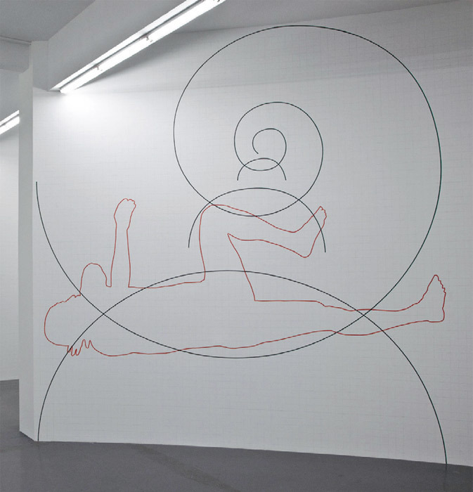 Wu Shanzhuan and Inga Svala Thorsdottir, Sisyphus Rotation, 2011, airbrush ink on wall, 20 x 20'.
