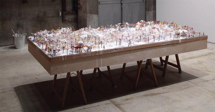 "Arata Isozaki, Incubation Process/Joint Core System, 1962/2011, mixed media, 48 x 95 5/8 x 13 3/4""."