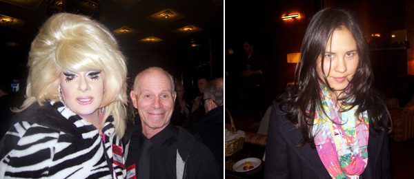Left: Lady Bunny with artist Charles Atlas. Right: Artist Laurel Nakadate.