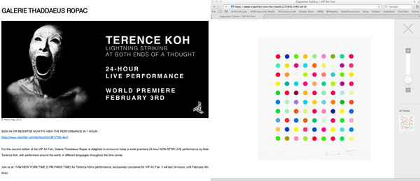 Left: An e-mail announcing Terence Koh's performance at the VIP Art Fair. Right: A detail view of Damien Hirst's Lanatoside B, 2011, at Gagosian Gallery.