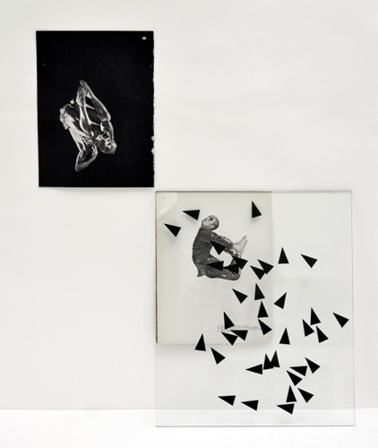"Rowena Hughes, Possible Lines of Flight, 2011, screenprint on glass, two found book pages, 27 1/2  x 34""."