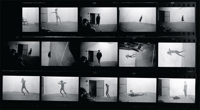 "Contact sheet showing Sturtevant's Study for Yvonne Rainer's ""Three Seascapes"", 1967, 222 Bowery, New York, May 16, 1967. Photos: Peter Moore/VAGA."