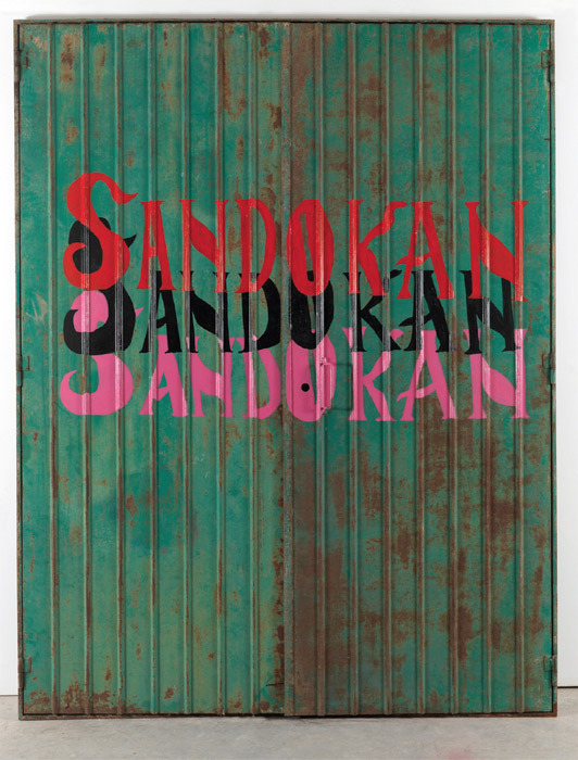 "Flavio Favelli, Sandokan (Garage), 2011, enamel on iron garage door, 98 x 76""."
